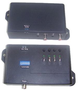 Комплект передачи видеосигнала по проводной линии коммутируемый четырехканальный  М24-4ДУ