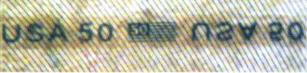 Рис. 14. Прозрачная защитная нить с текстом и изображениями (50 долларов США).
