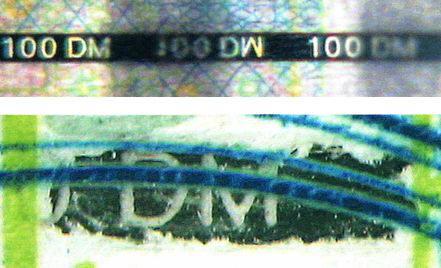 Рис. 17. Ныряющая нить с прозрачным текстом (100 марок Германии):