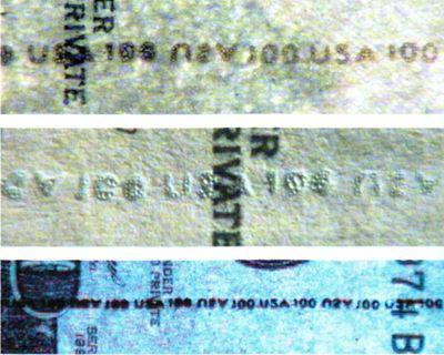 Рис. 20. Имитация скрытой защитной нити надпечаткой текста: