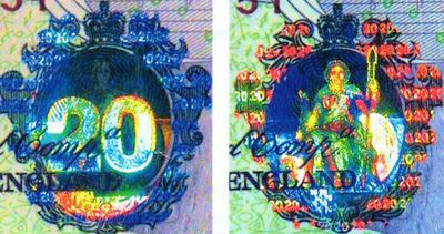 Рис. 43. Голографическая защита банкноты номиналом 20 английских фунтов.