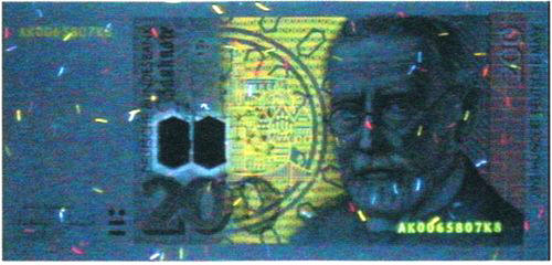 Рис. 48. Люминесценция банкноты 200 марок Германии в ультрафиолетовых лучах