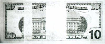 Рис. 50. Картина поглощения в ИК-диапазоне на оборотной стороне банкноты номиналом 10 долларов США.