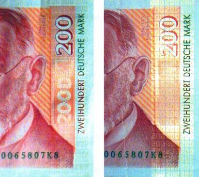 Рис. 54. Средства защиты от копирования на банкноте номиналом 200 марок Германии: