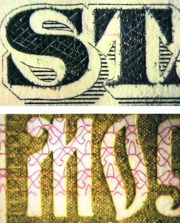 Рис. 76. Структура штрихов в оттисках, выполненных способом металлографии