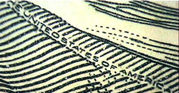 Рис. 89. Искажение знаков микротекста на поддельной банкноте.