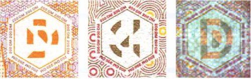 Рис. 92. Совмещенное изображение на банкнотах марок Германии: