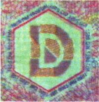 Рис. 93. Совмещенное изображение на поддельной банкноте 1000 марок Германии (вид на просвет).