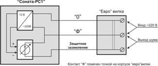 """Функциональная схема и вариант подключения устройств  """"Соната-РС1 """" и  """"Соната-РС2 """" ."""