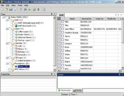 Программа экспертизы портативных устройств Parabens Device Seizure