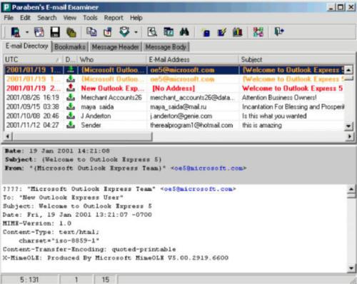 Программа судебного исследования электронной почты Paraben E-mail Examiner